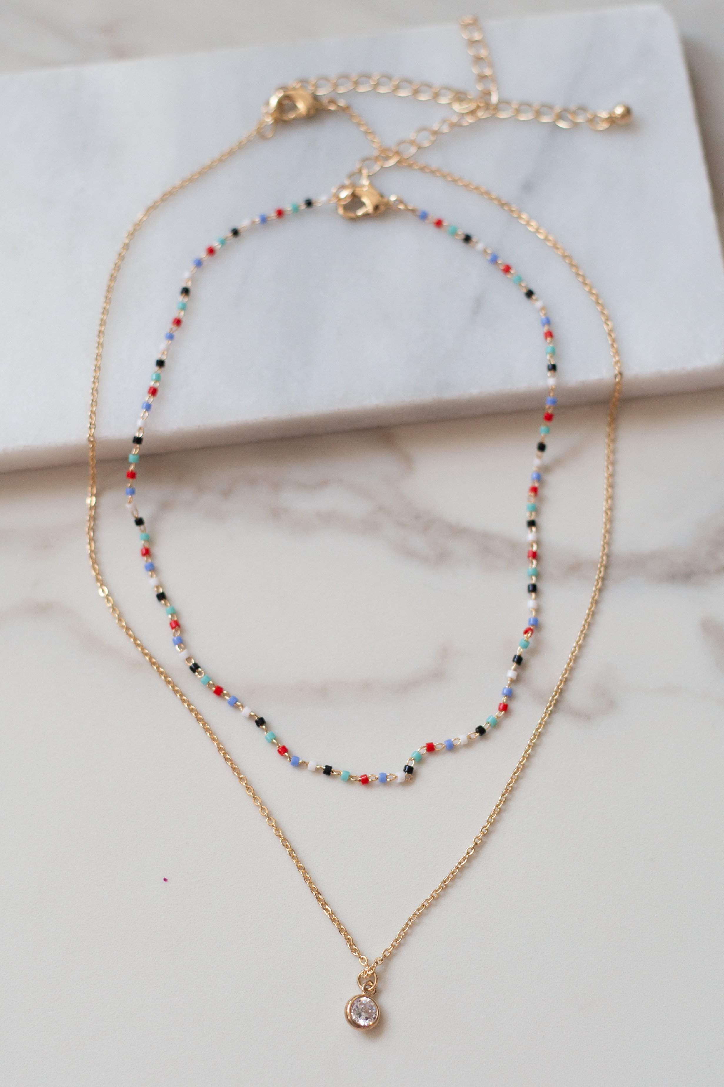Gold Layered Necklace Set with Rainbow Beads and Crystal