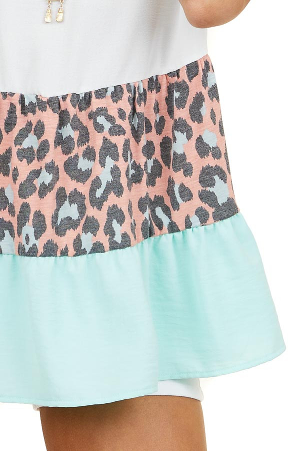 Turquoise and Coral Leopard Print Tiered V Neck Top