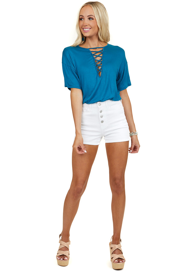 Dark Teal Short Sleeve Top with Criss Cross Cutout Detail