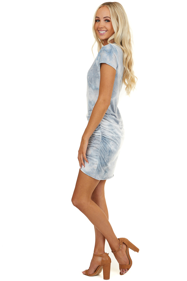 Slate Blue and Grey Tie Dye Short Dress with Side Ruching