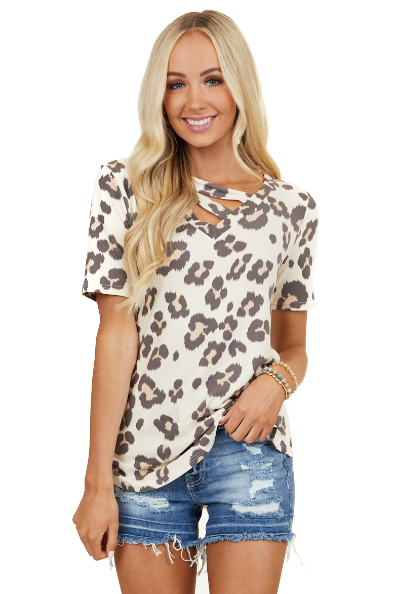 Cream Leopard Print Soft V Neck Knit Top with Strappy Detail