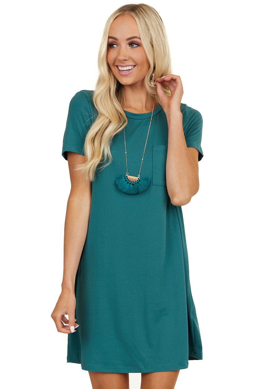 Green Short Sleeve Soft Knit Mini Dress with Chest Pocket
