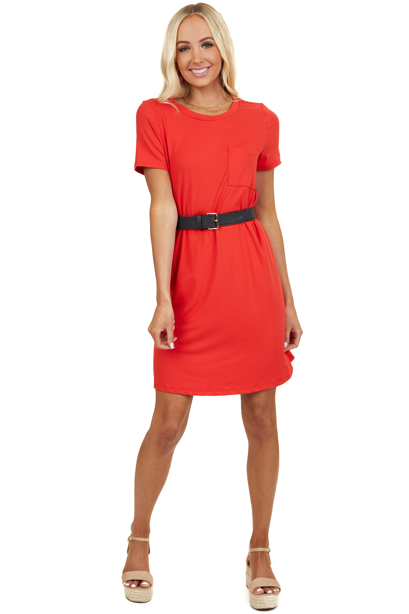 Crimson Short Sleeve Soft Knit Mini Dress with Chest Pocket