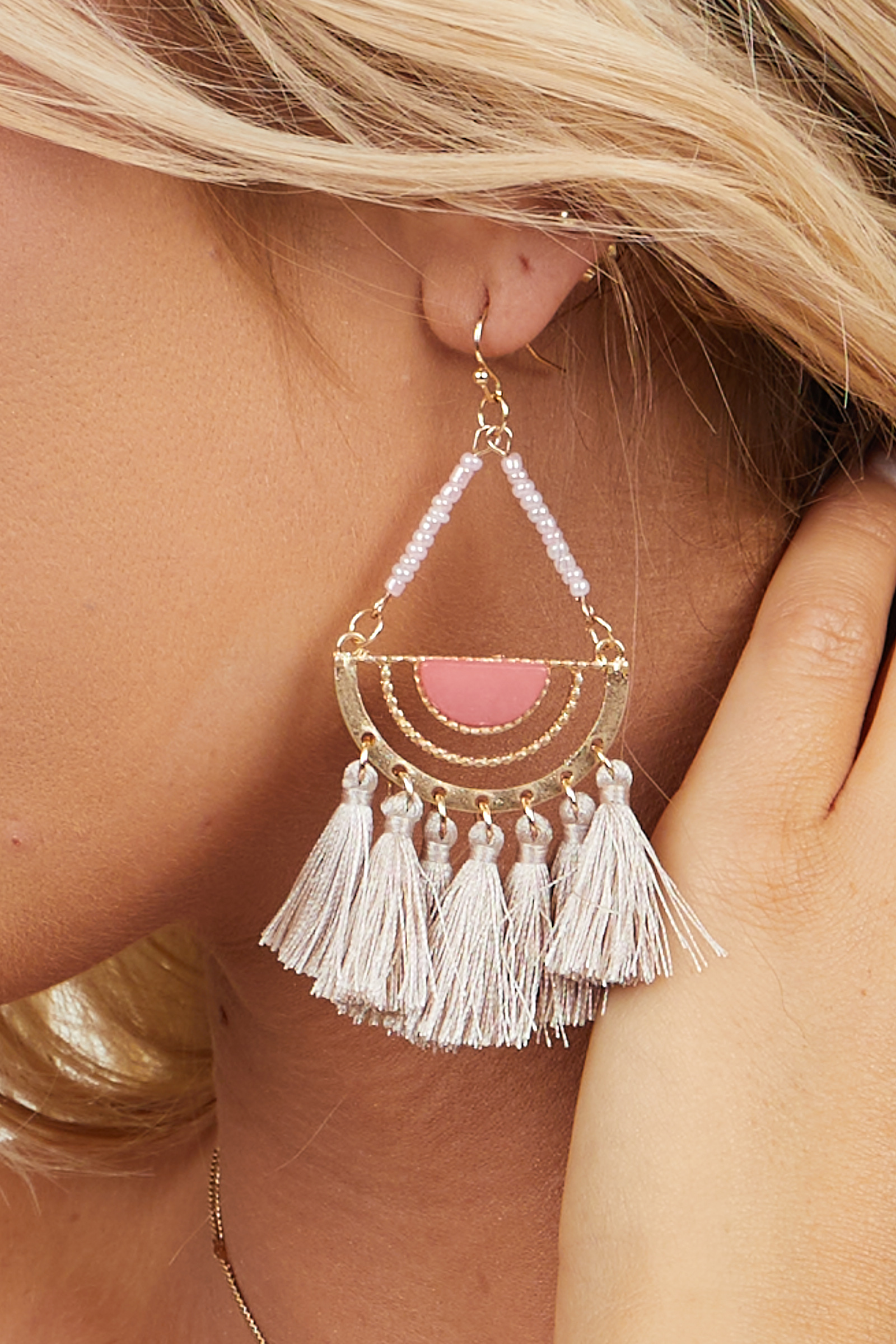 Pink and Mauve Half Circle Earrings with Tassel Details