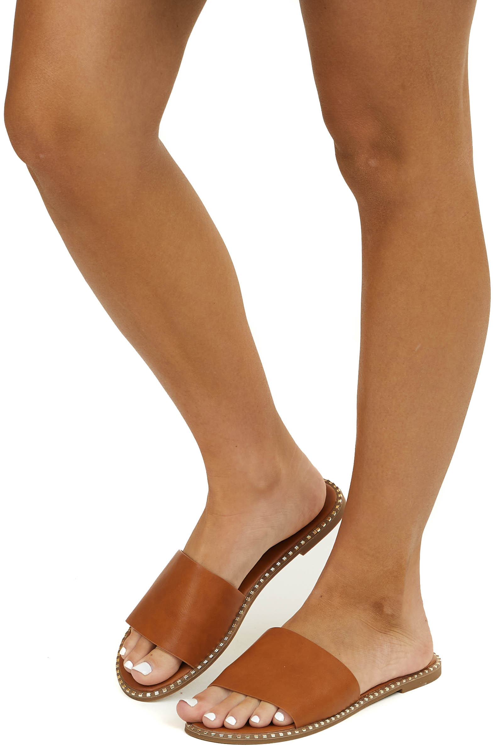 Cognac Faux Leather Slip On Sandal with Gold Edge Details