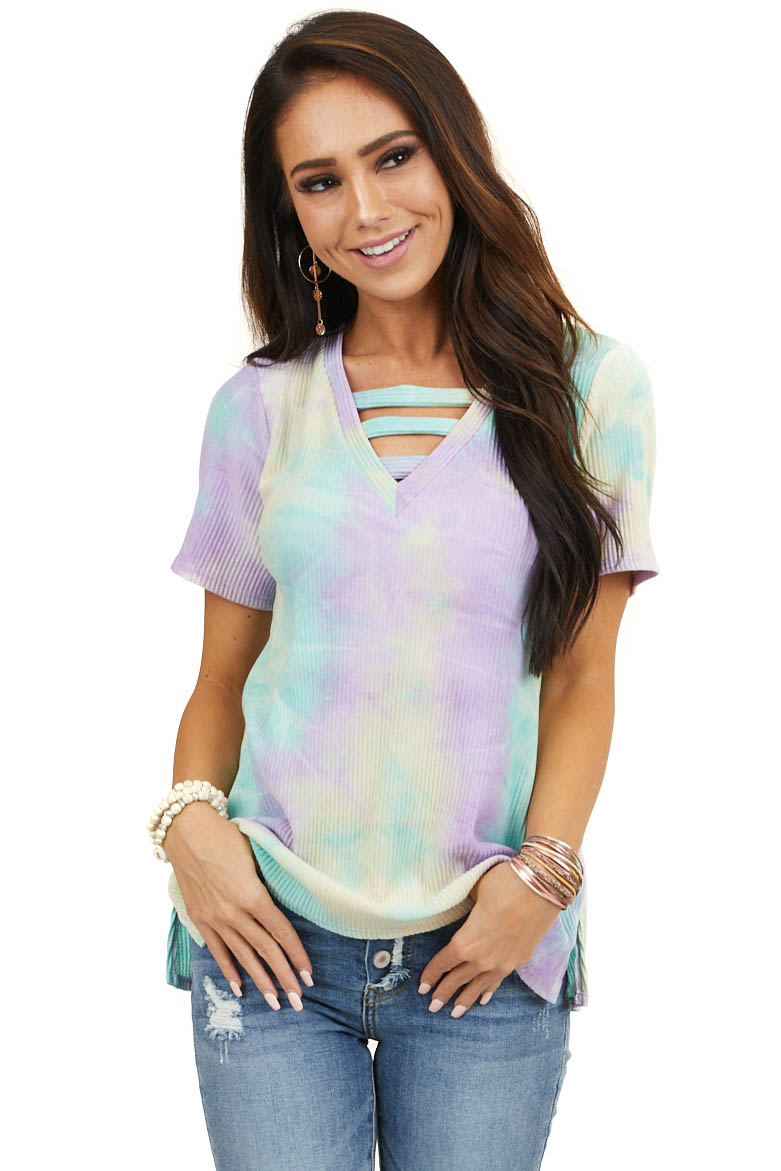 Mint and Lilac Tie Dye Ribbed Knit Top with Strappy V Neck