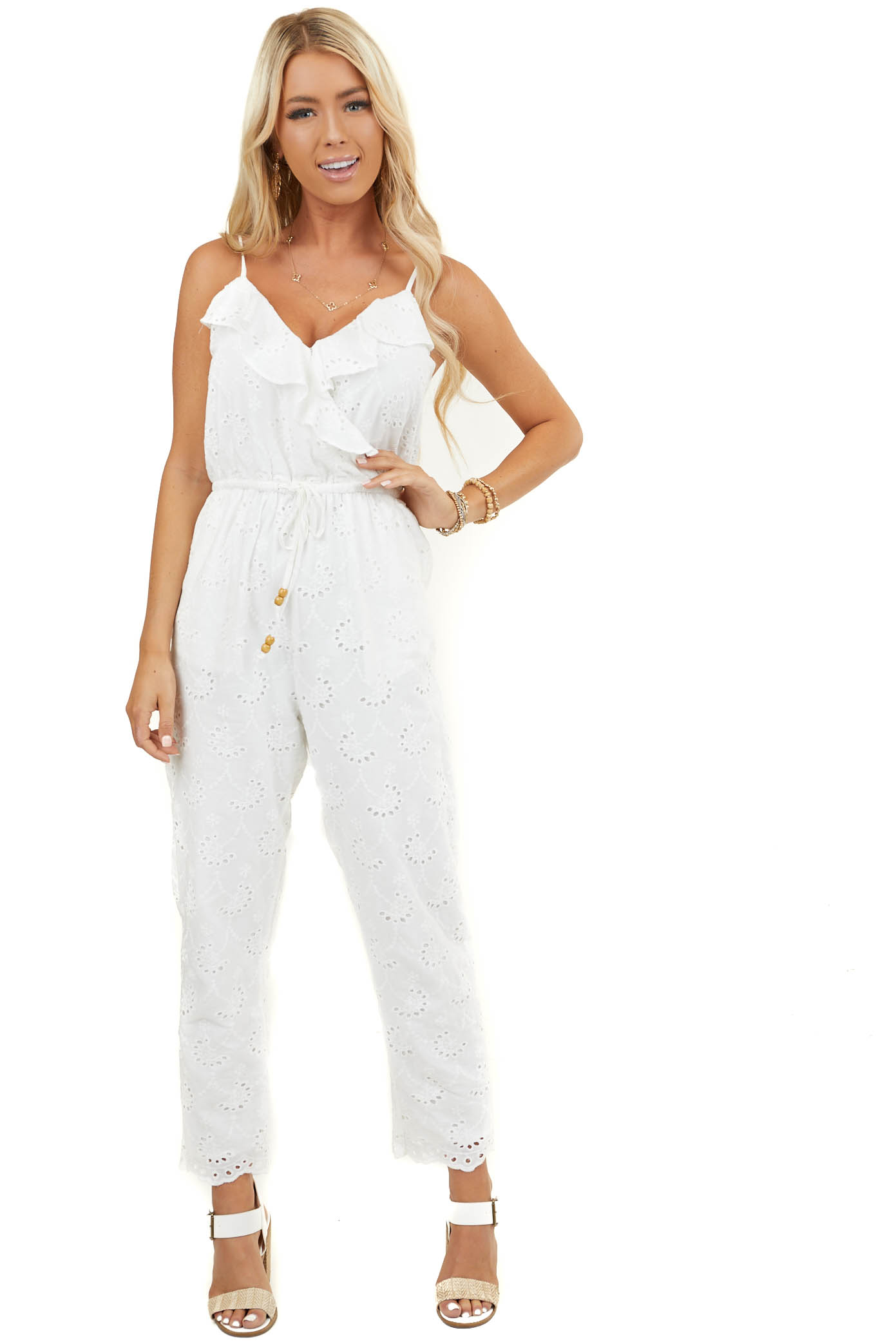 Off White Floral Eyelet Lace Surplice Sleeveless Jumpsuit