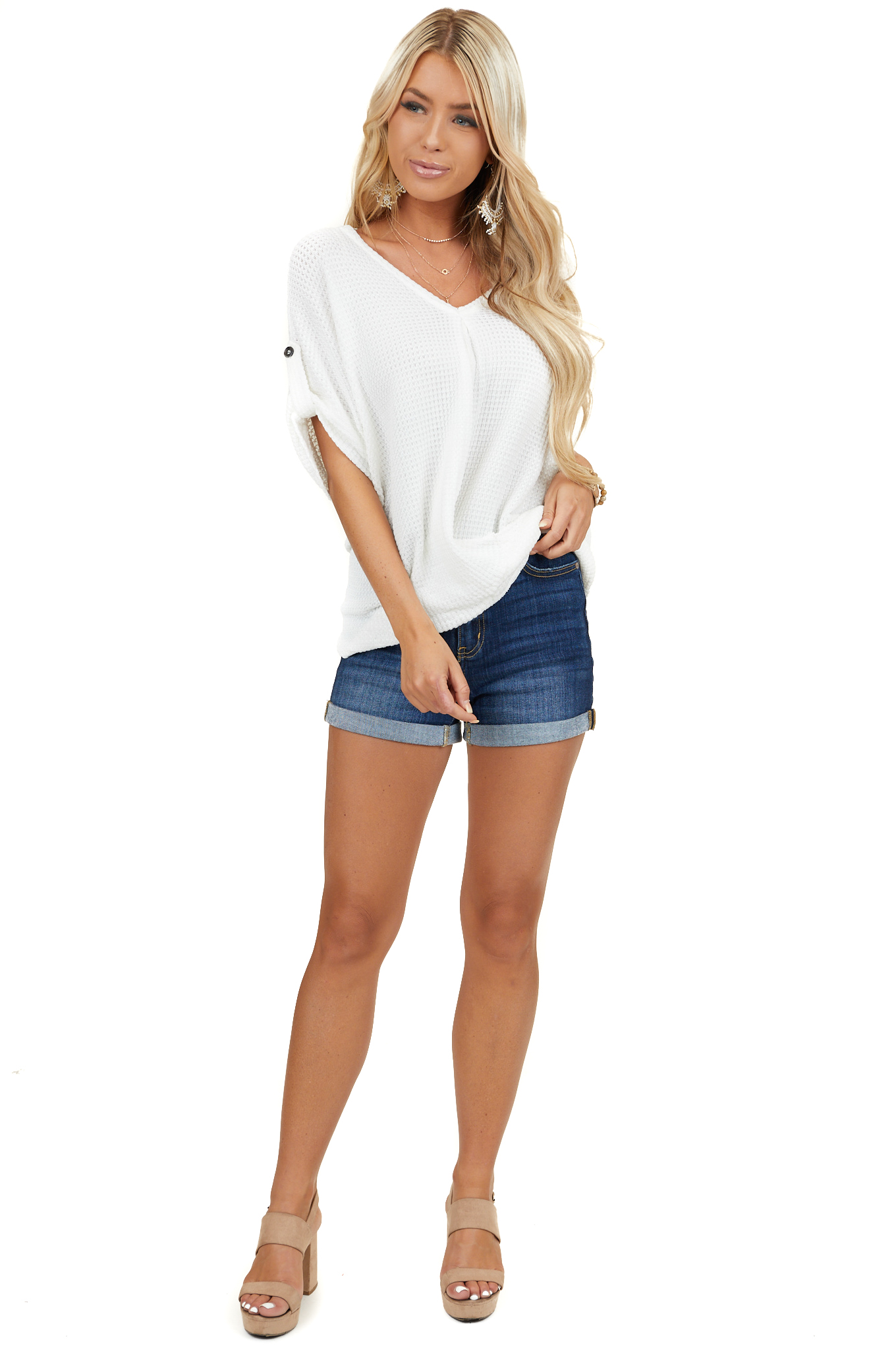 Off White Short Sleeve V Neck Top with Front Twist Detail