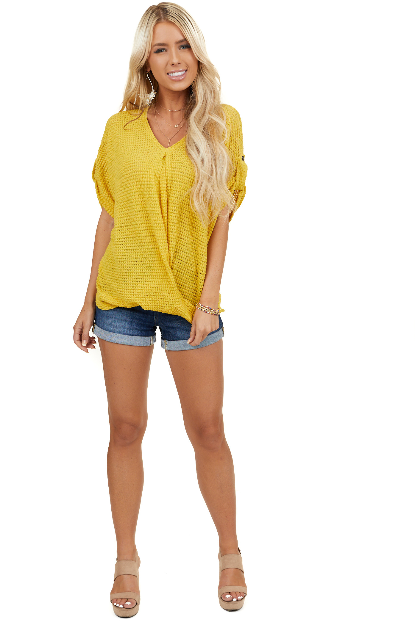 Mustard Short Sleeve V Neck Top with Front Twist Detail