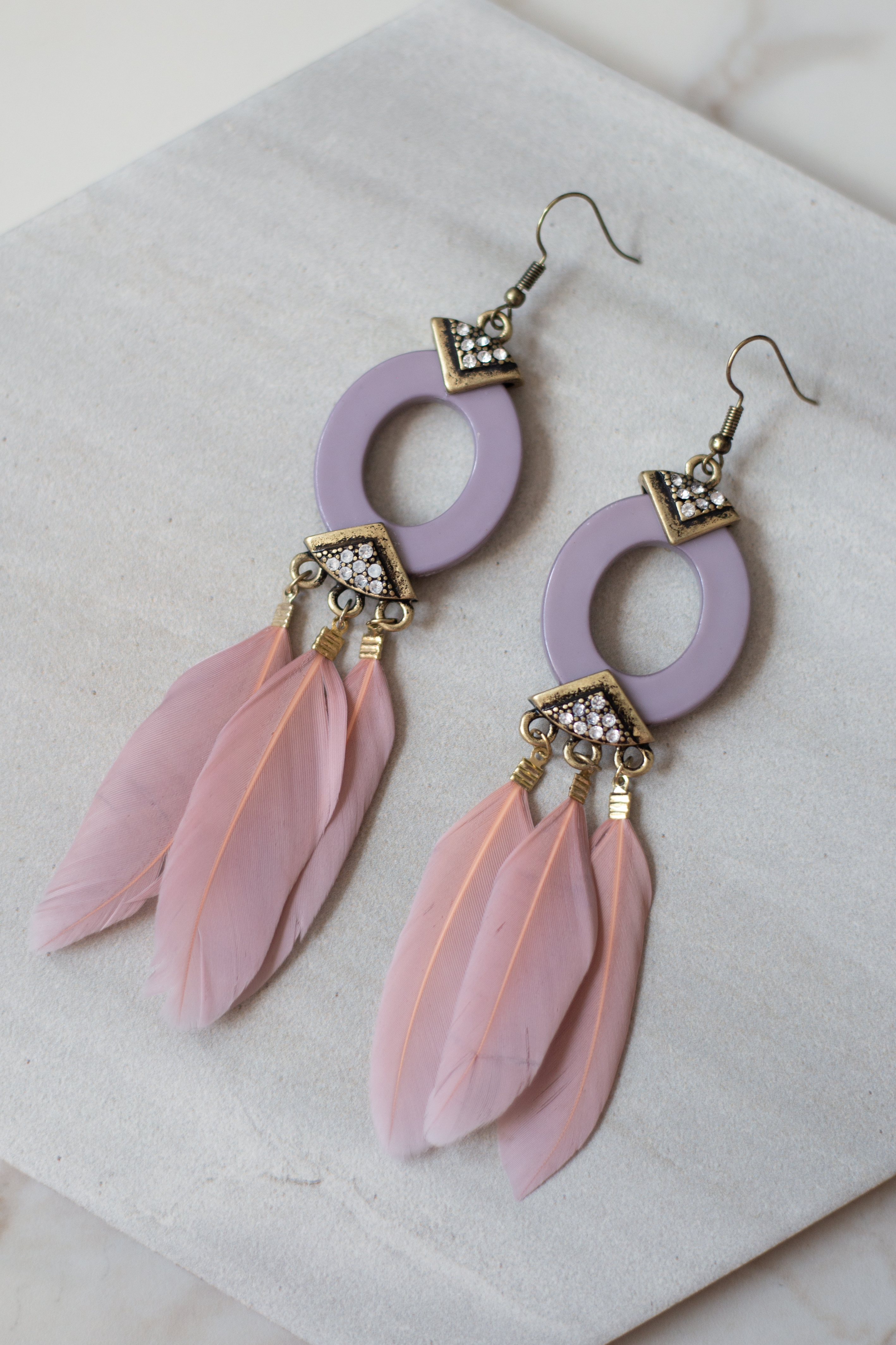 Mauve Statement Earrings with Rhinestone and Feather Details