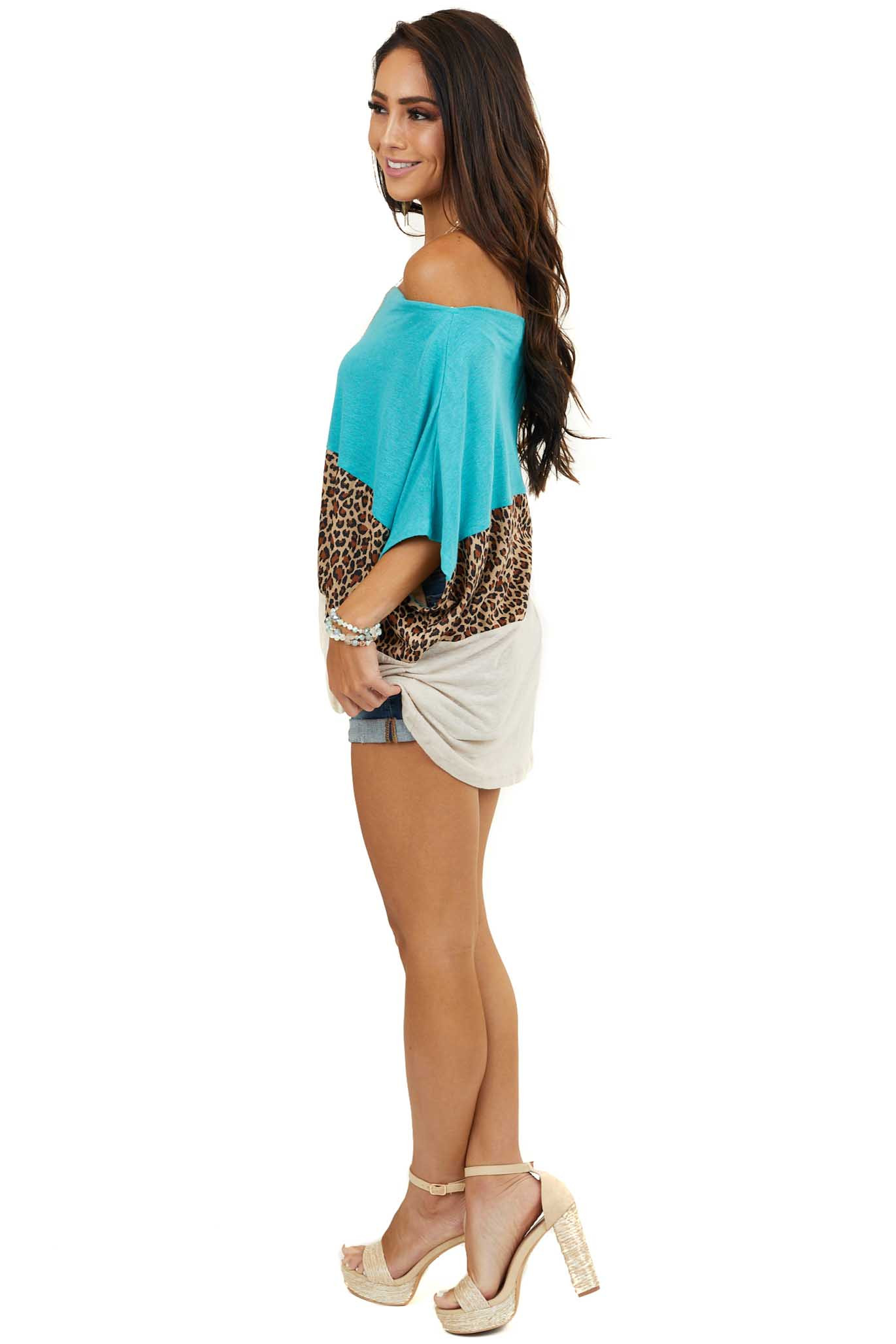 Teal and Leopard Print Color Block Top with Front Knot