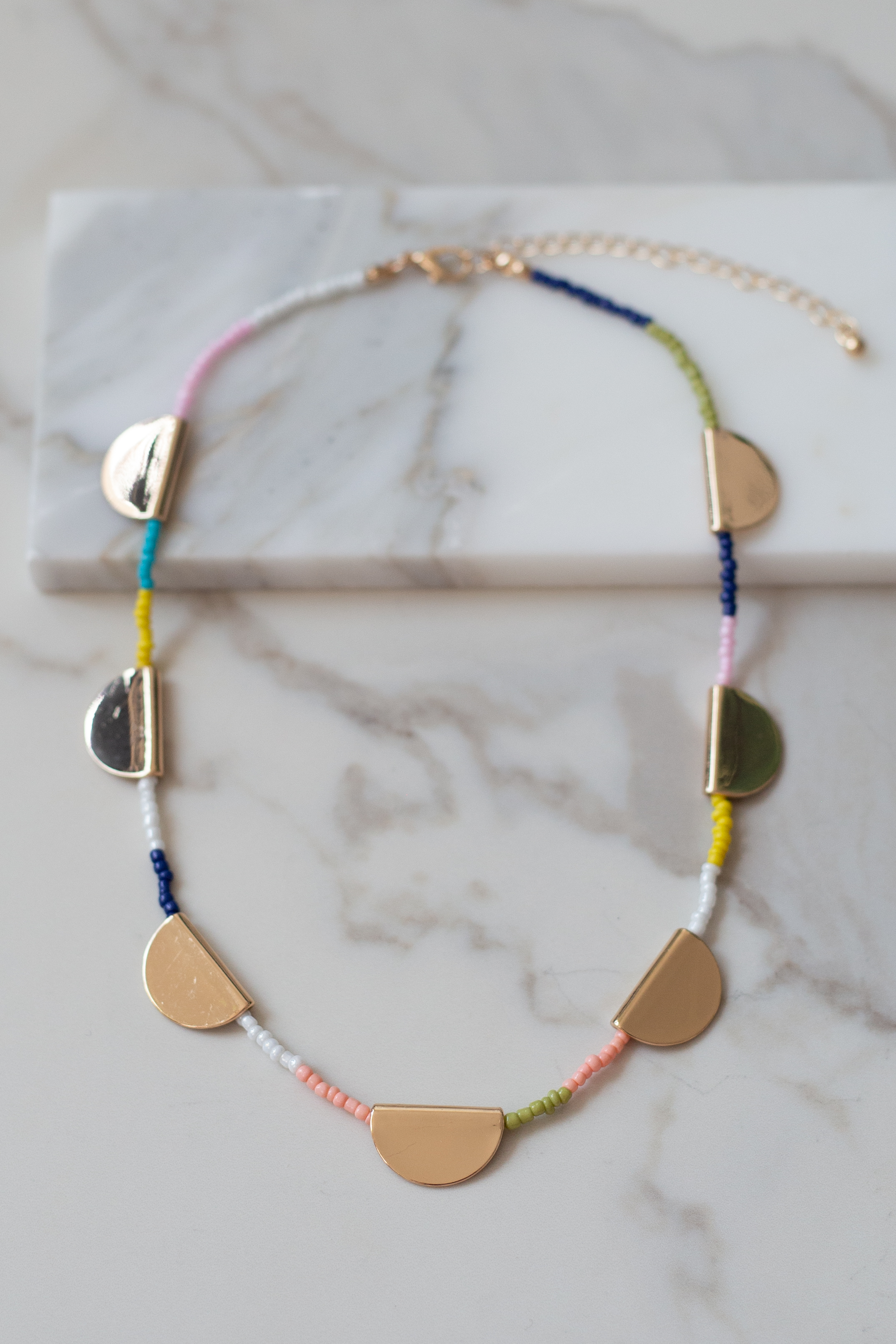 Rainbow Beaded Necklace with Gold Half Circle Pendants