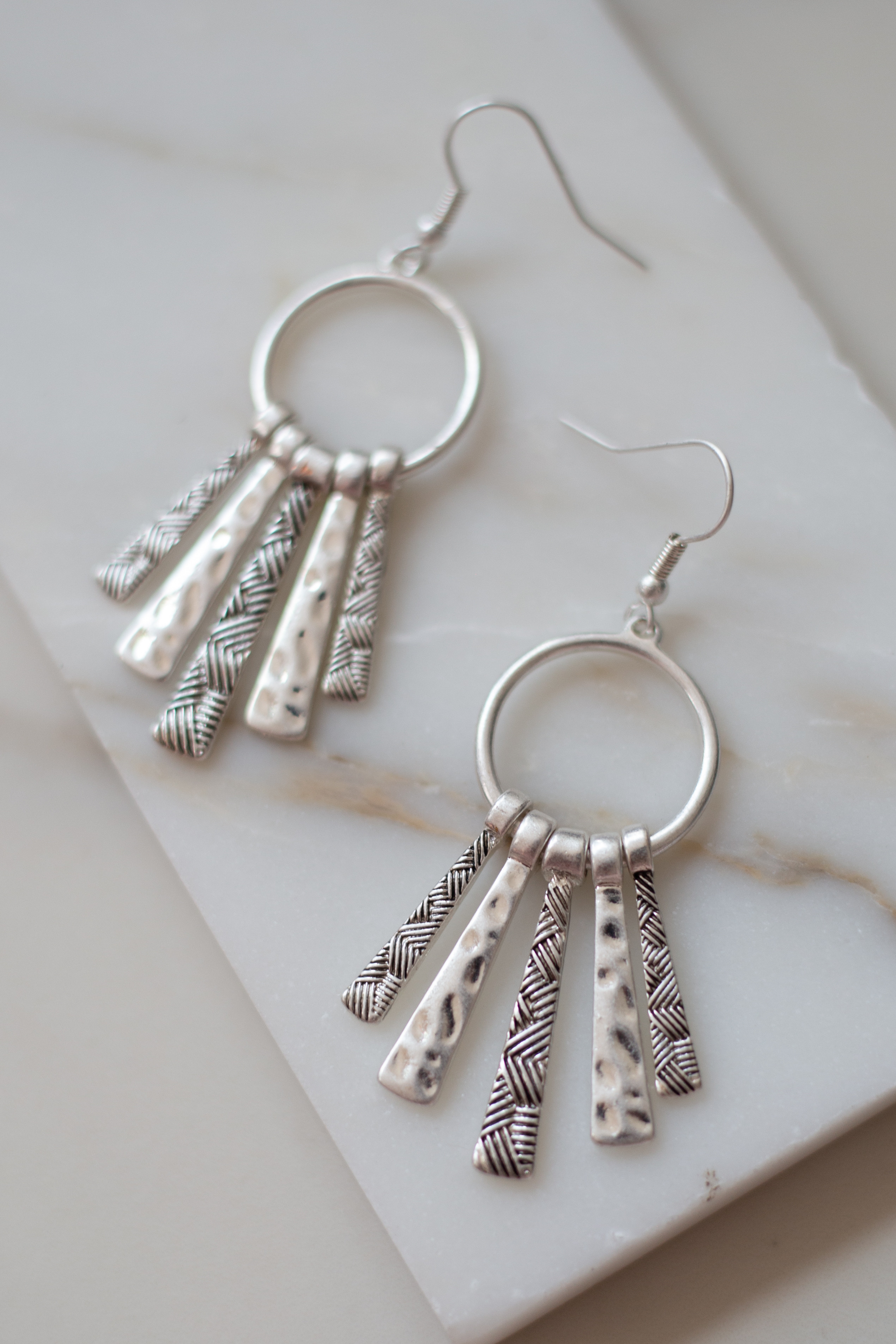 Silver Hoop Earrings with Textured Bar Details