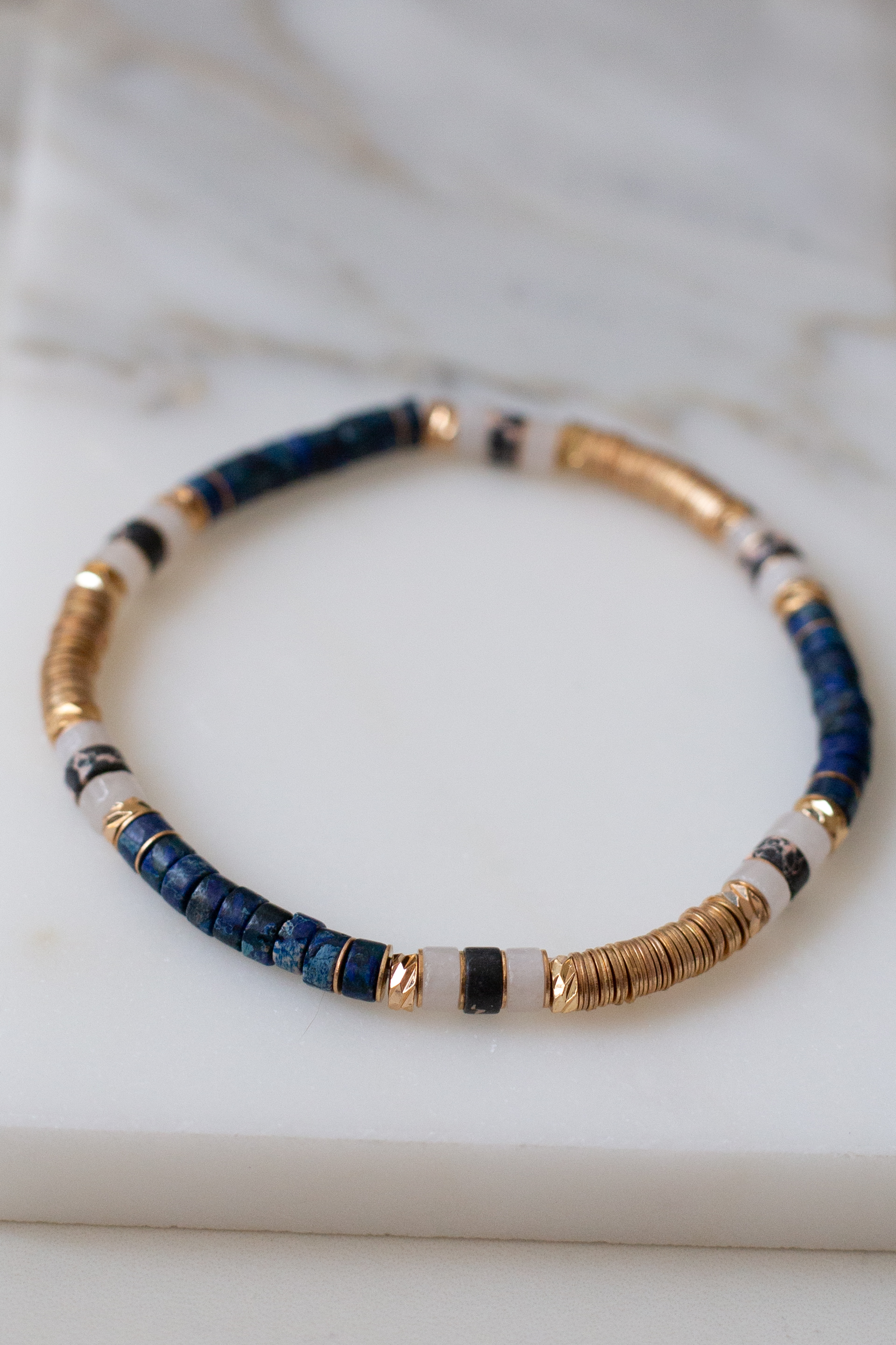 Navy Beaded Stretchy Bracelet with Gold Coin Bead Details