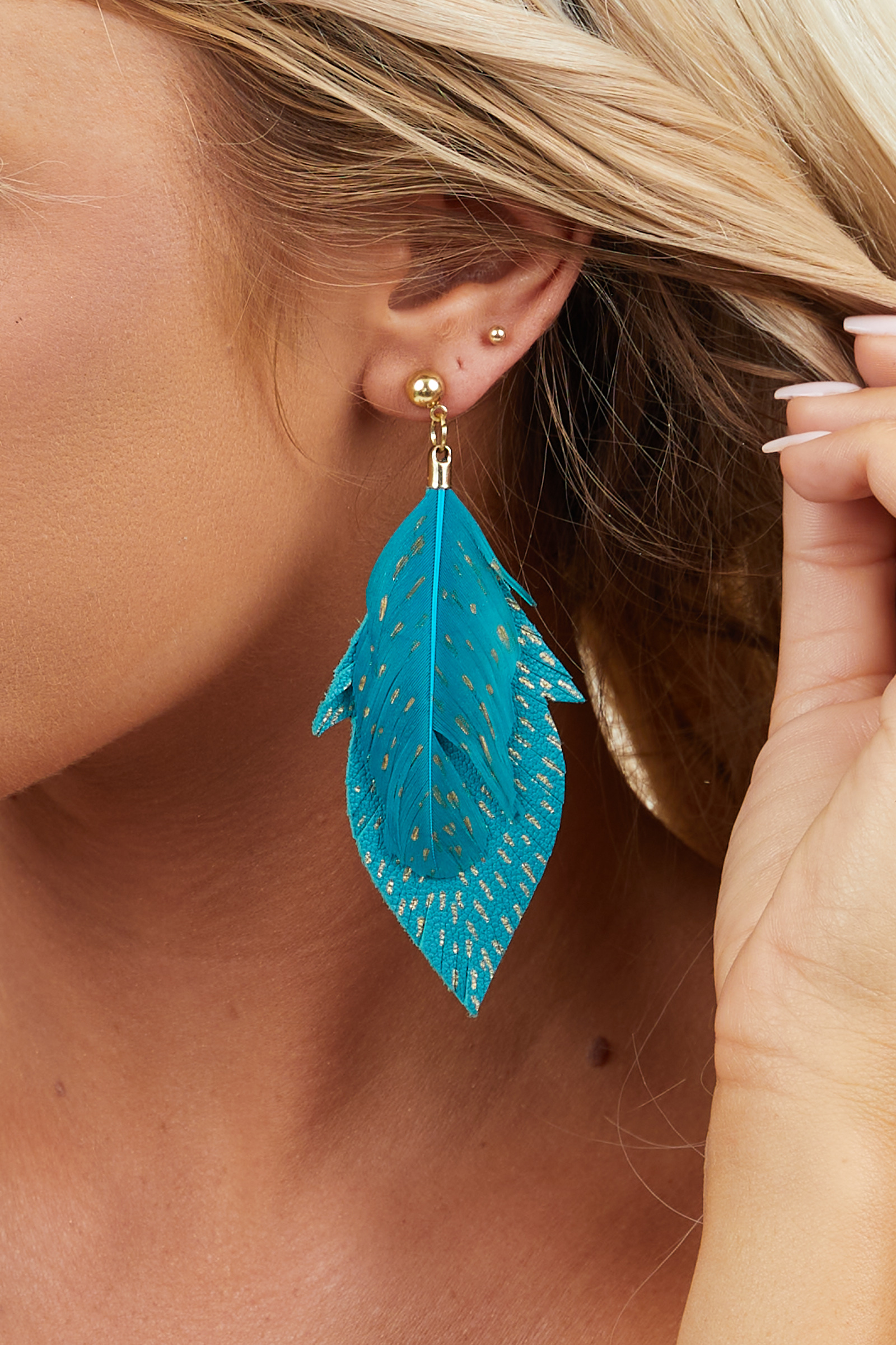 Teal and Gold Faux Leather and Feather Dangle Earrings