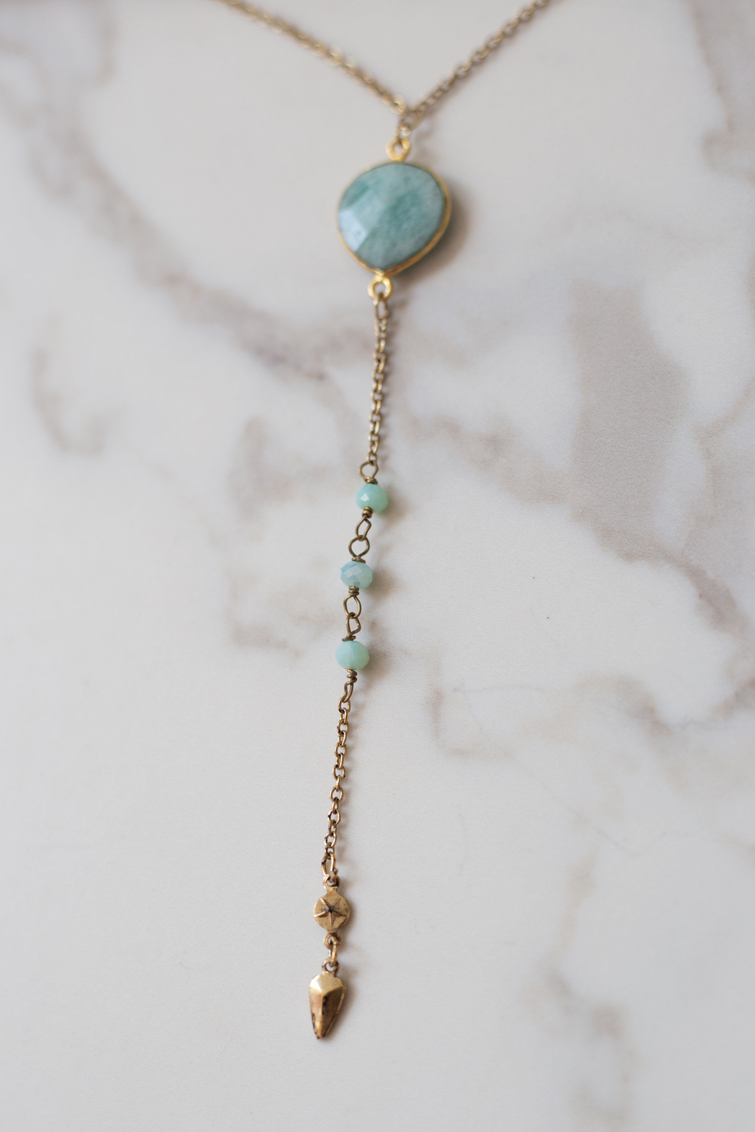 Gold Drop Necklace with Mint Pendant and Beads