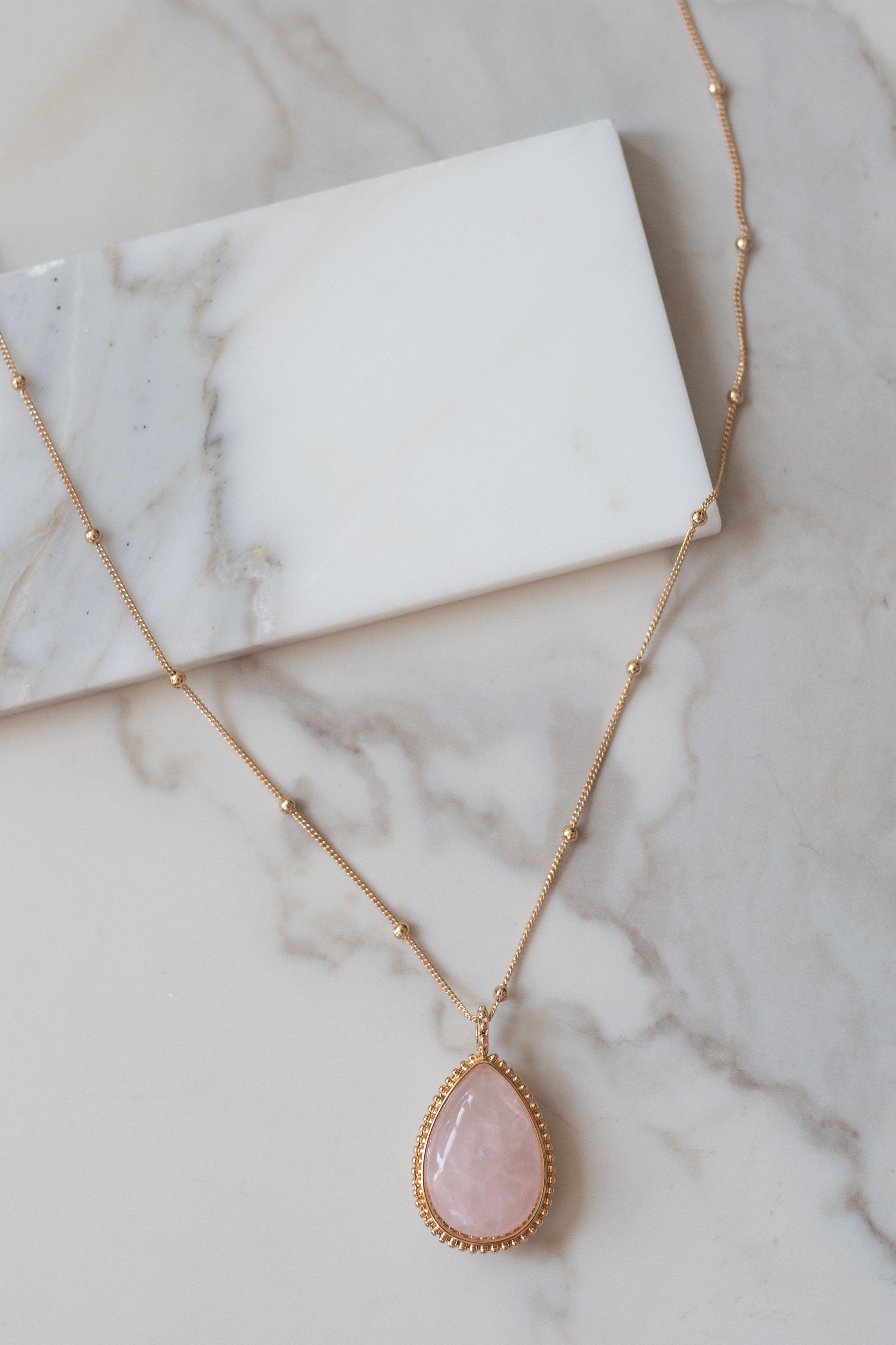 Gold Long Necklace with Marbled Blush Stone Pendant