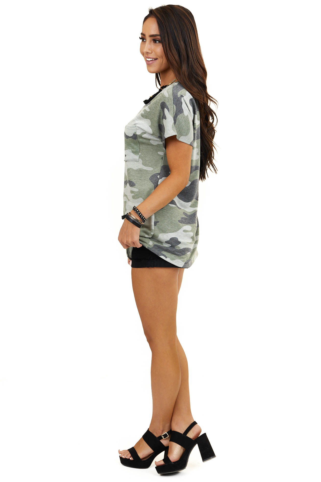 Olive Camo Print Short Sleeve Top with Chest Pocket