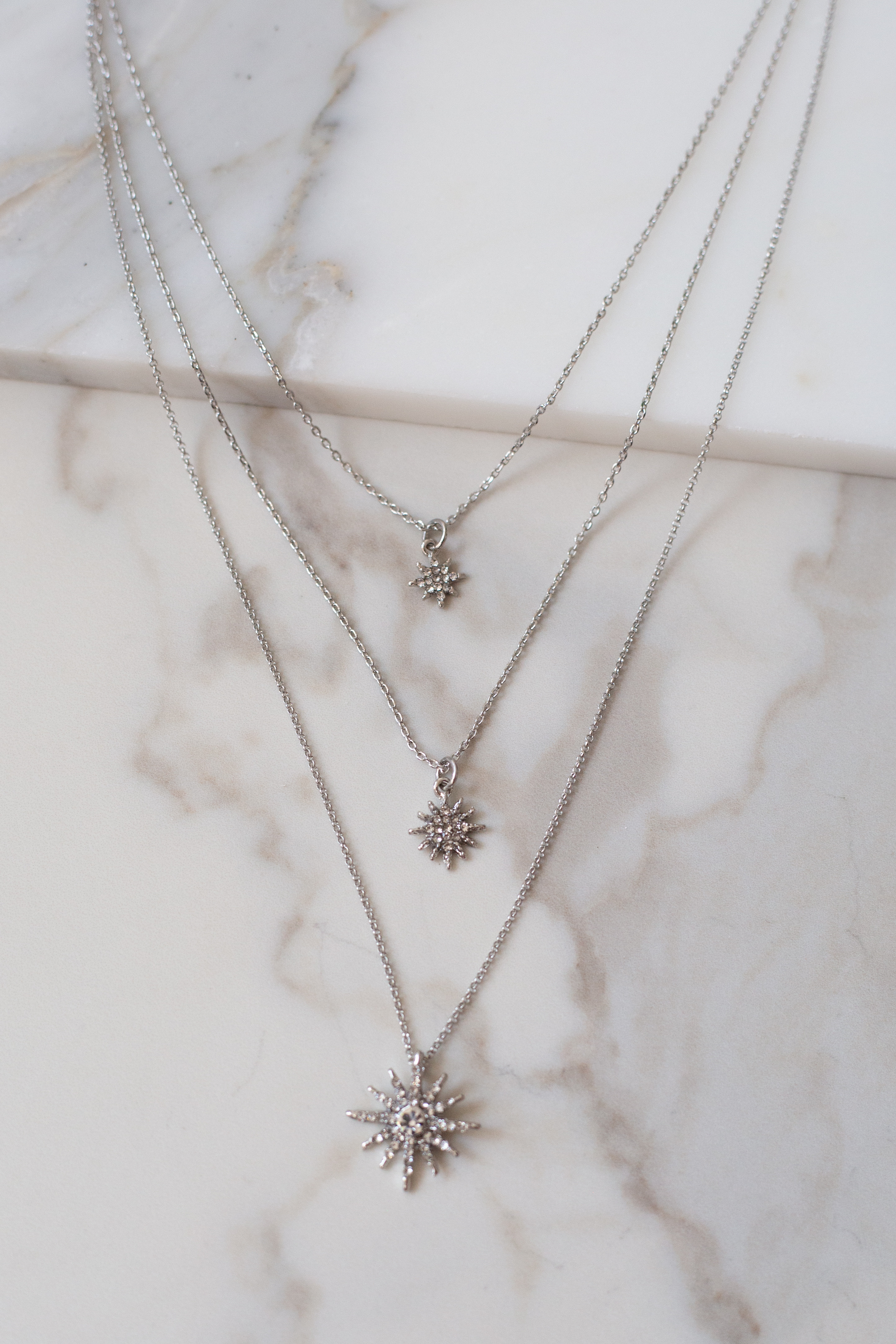 Silver Layered Necklace with Rhinestone Starburst Pendants
