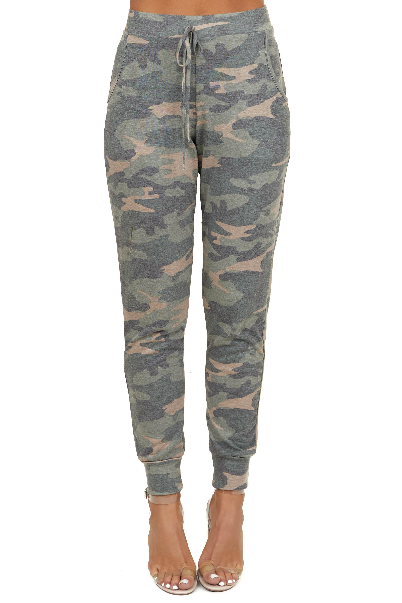 Olive Camo Print Joggers with Pockets and Waist Tie
