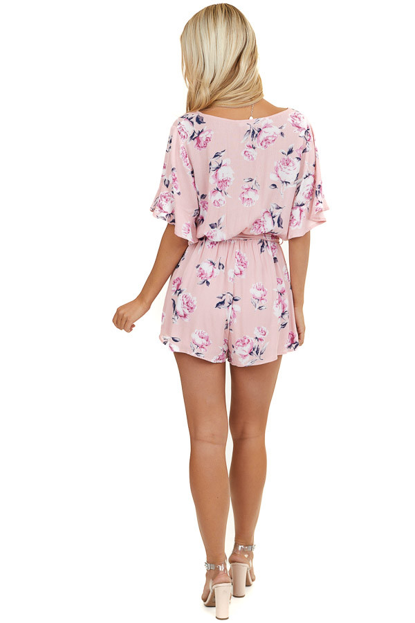 Baby Pink Floral Print Button Up Romper with Waist Tie