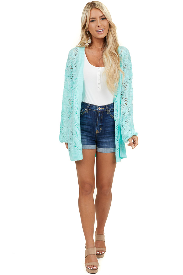 Mint Long Sleeve Lightweight Open Front Knit Cardigan