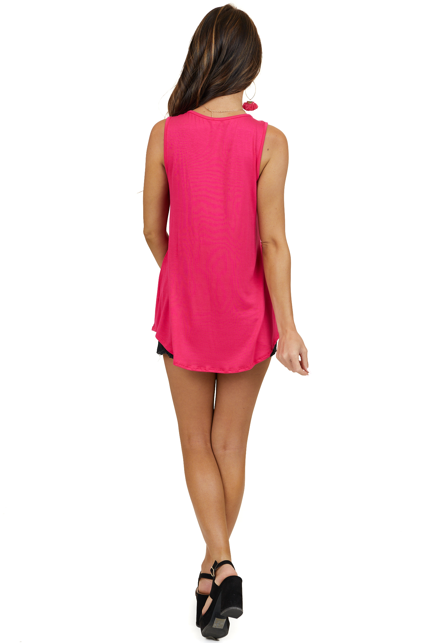 Hot Pink Babydoll Sleeveless Knit Top with Rounded Neckline