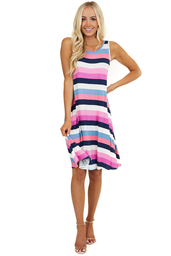 Blue and Pink Multicolor Striped Sleeveless Swing Dress