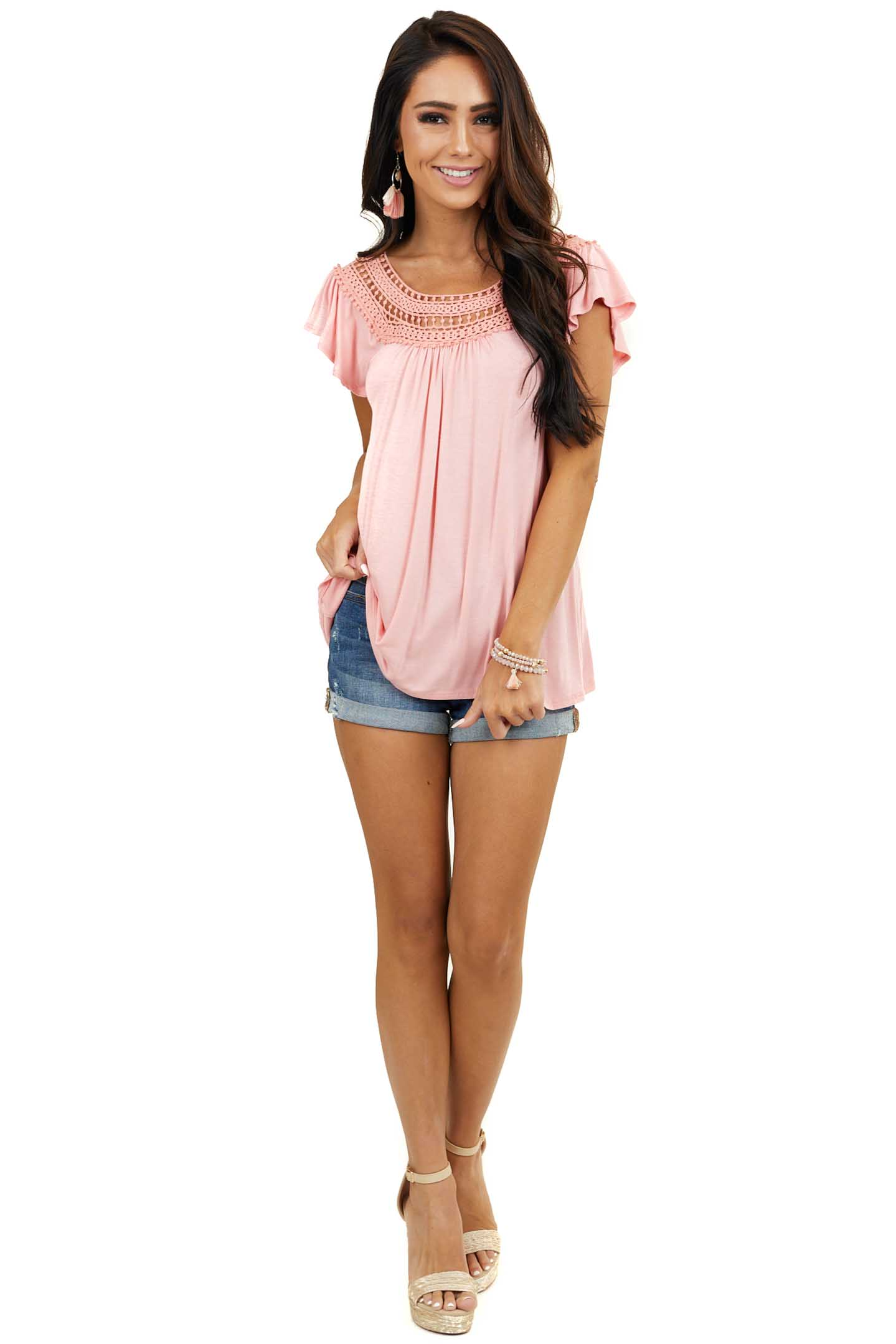 Coral Short Sleeve Knit Top with Crocheted Neckline Detail