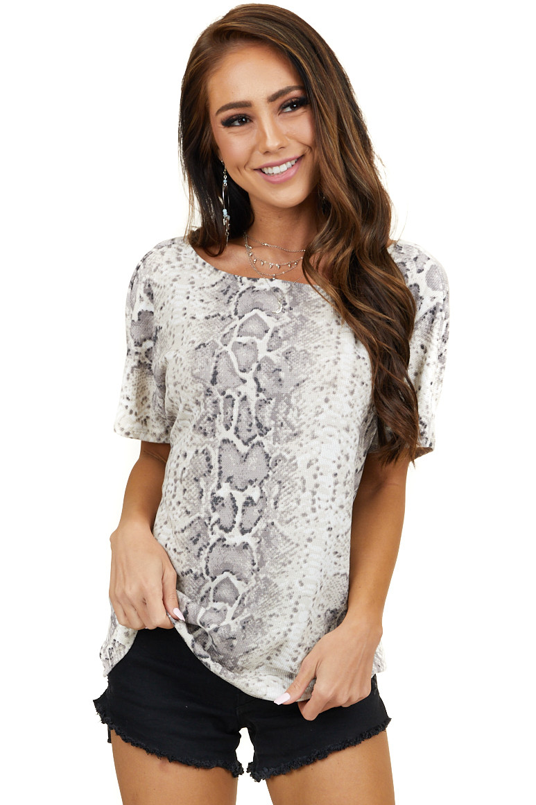 Taupe Snakeskin Print Waffle Knit Top with Open Draped Back