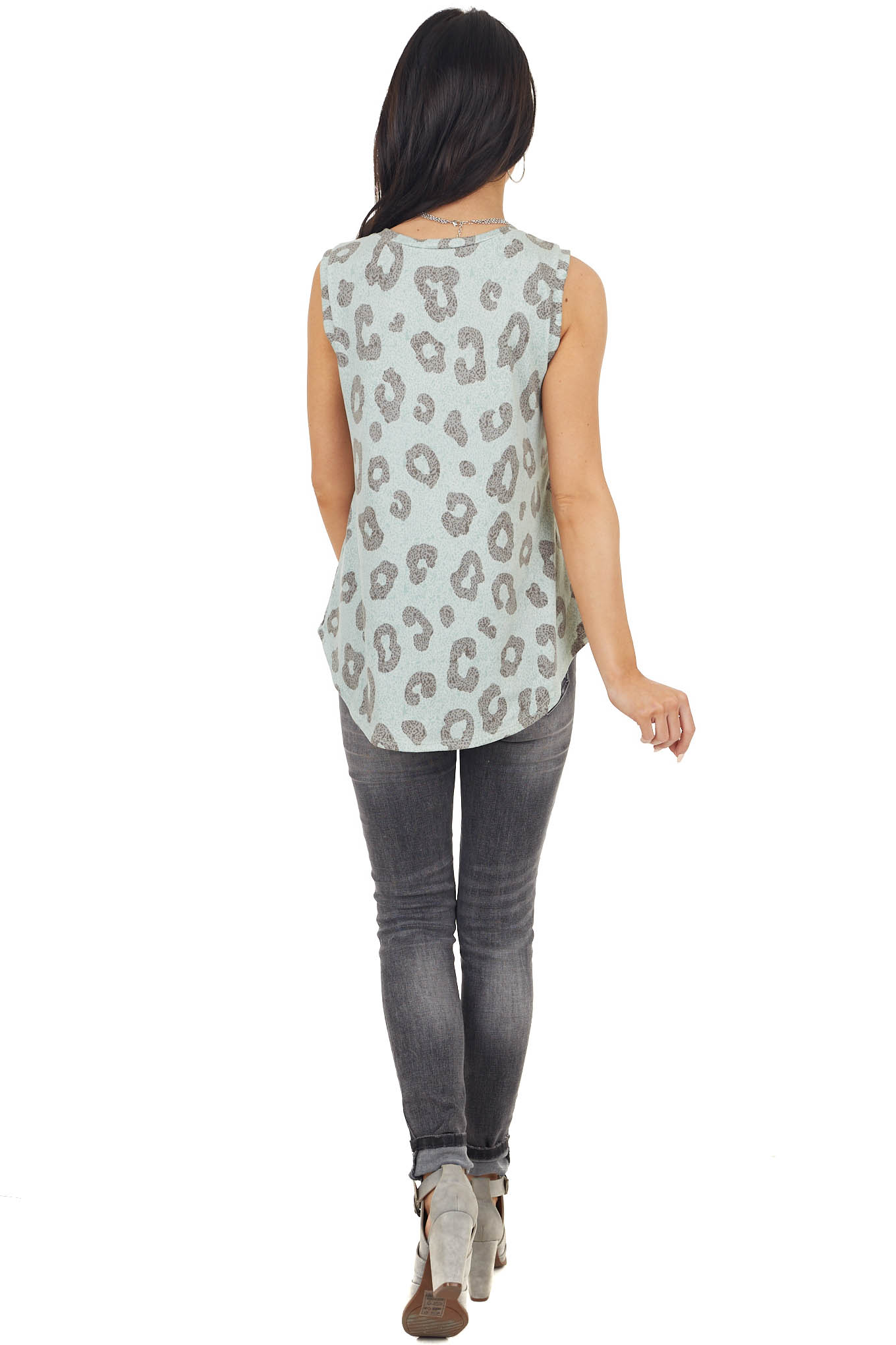Mint and Heather Grey Leopard Sleeveless Super Soft Knit Top