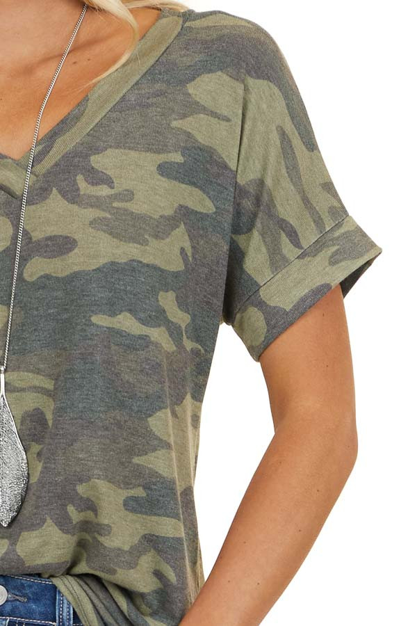 Olive and Hunter Green Camo V Neck Top with Short Sleeves