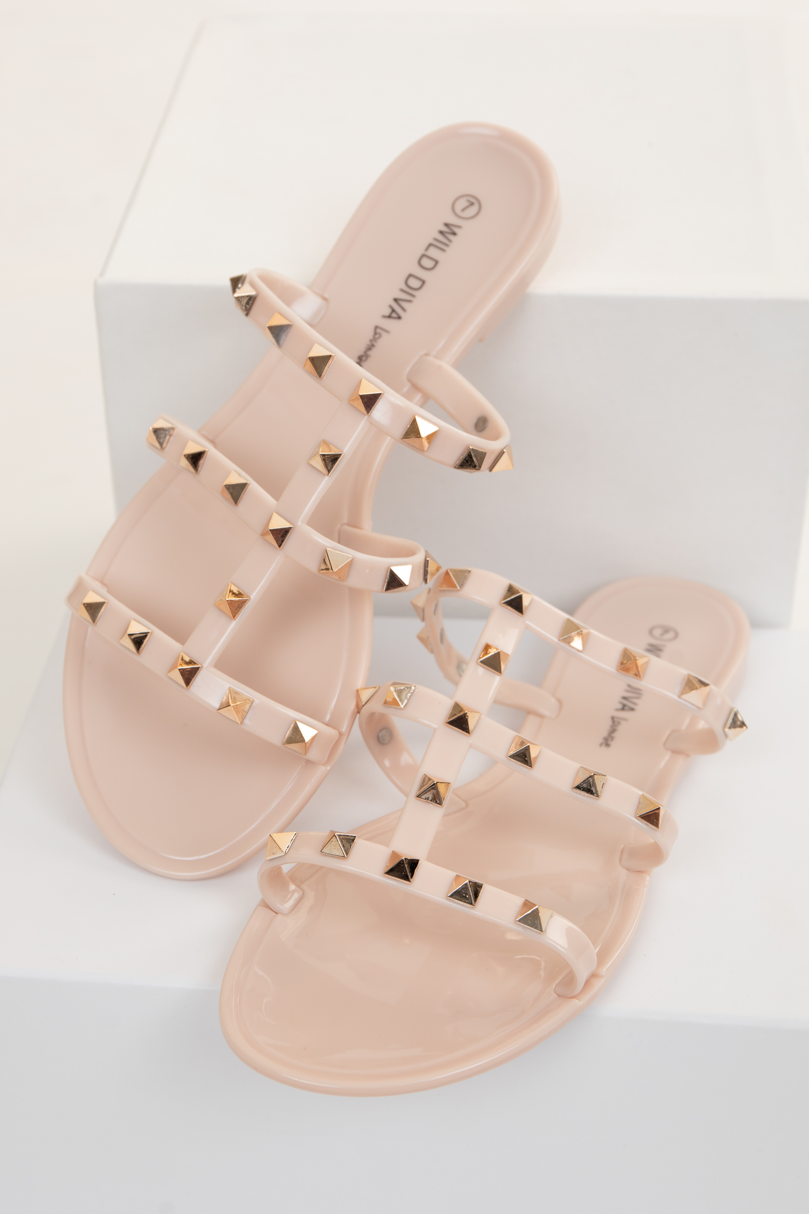 Beige Plastic Slip On Sandals with Gold Spike Details