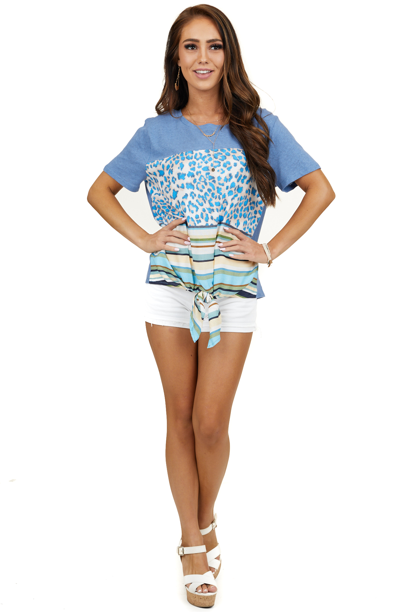 Dusty Blue Multi Print Short Sleeve Top with Front Tie