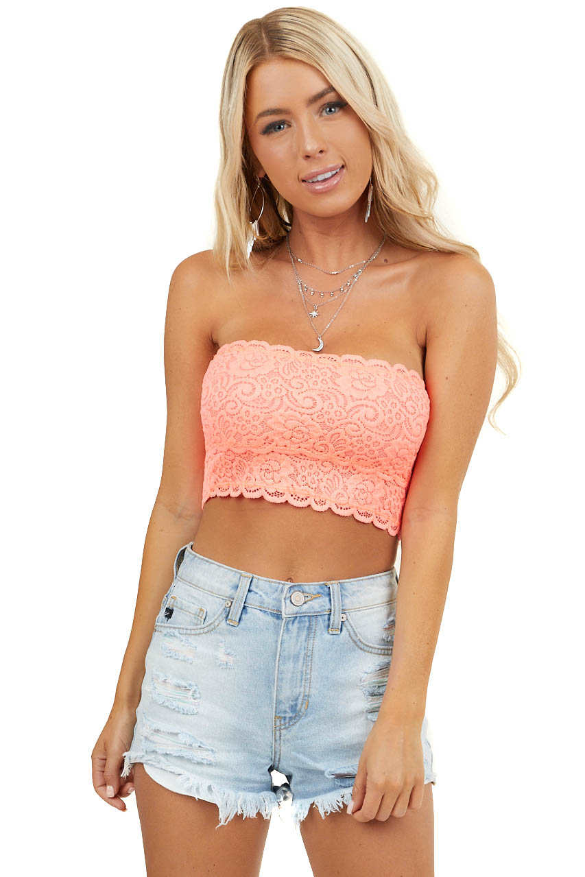 Neon Coral Lace Bandeau Bra with Scallop Detail