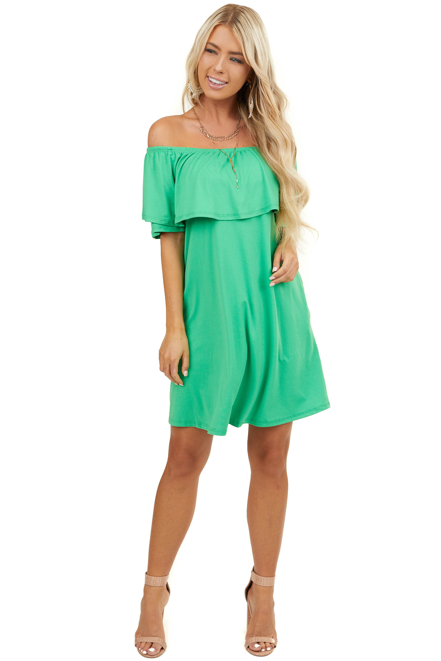 Kelly Green Off Shoulder Dress with Bust Overlay and Pockets