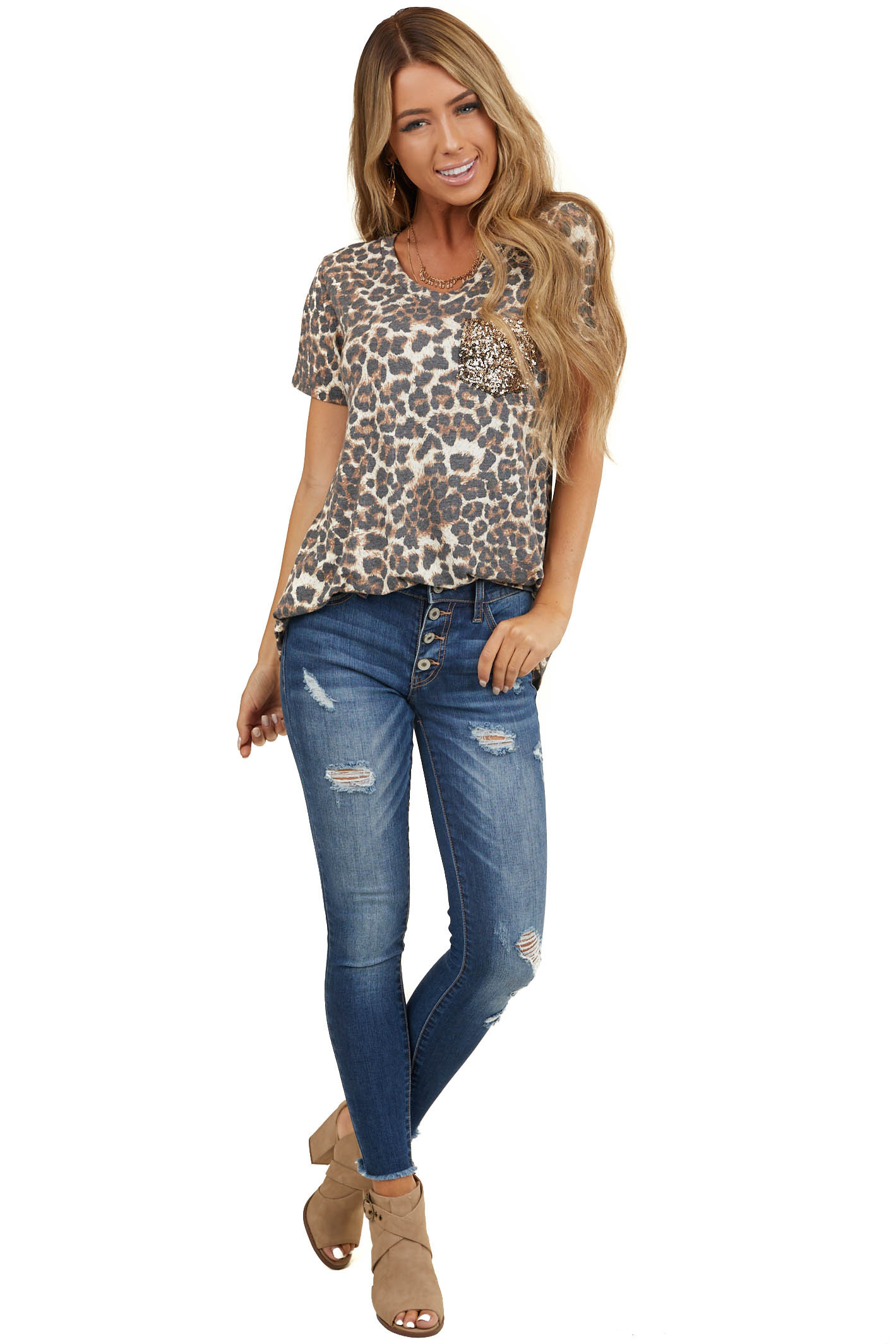 Mocha Leopard Print Short Sleeve Top with Gold Sequin Pocket