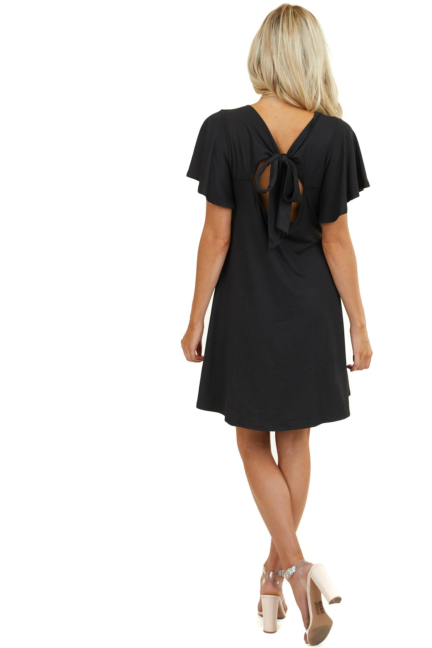 Black Keyhole Back Mini Dress with Tie Detail and Pockets