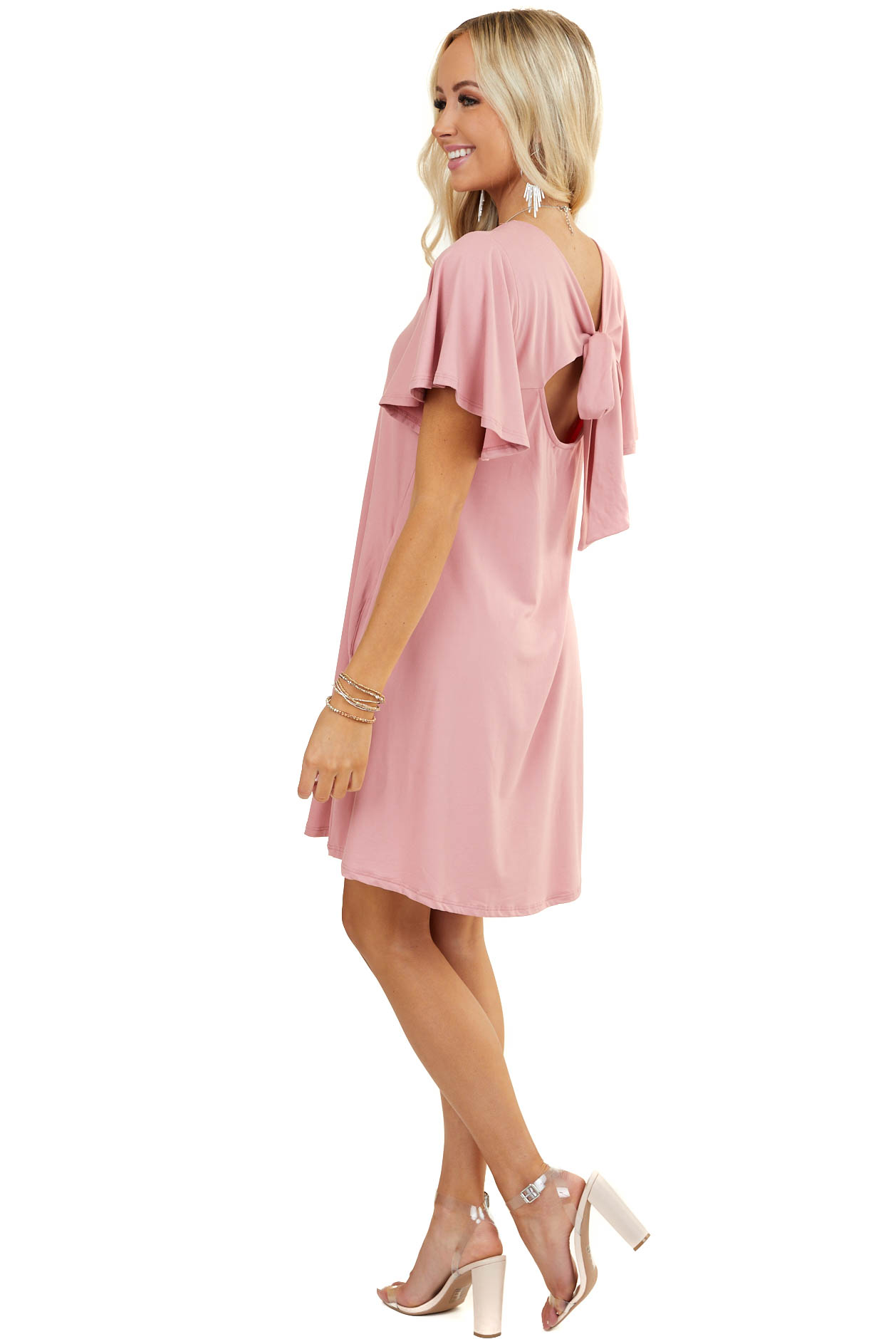 Blush Keyhole Back Mini Dress with Tie Detail and Pockets