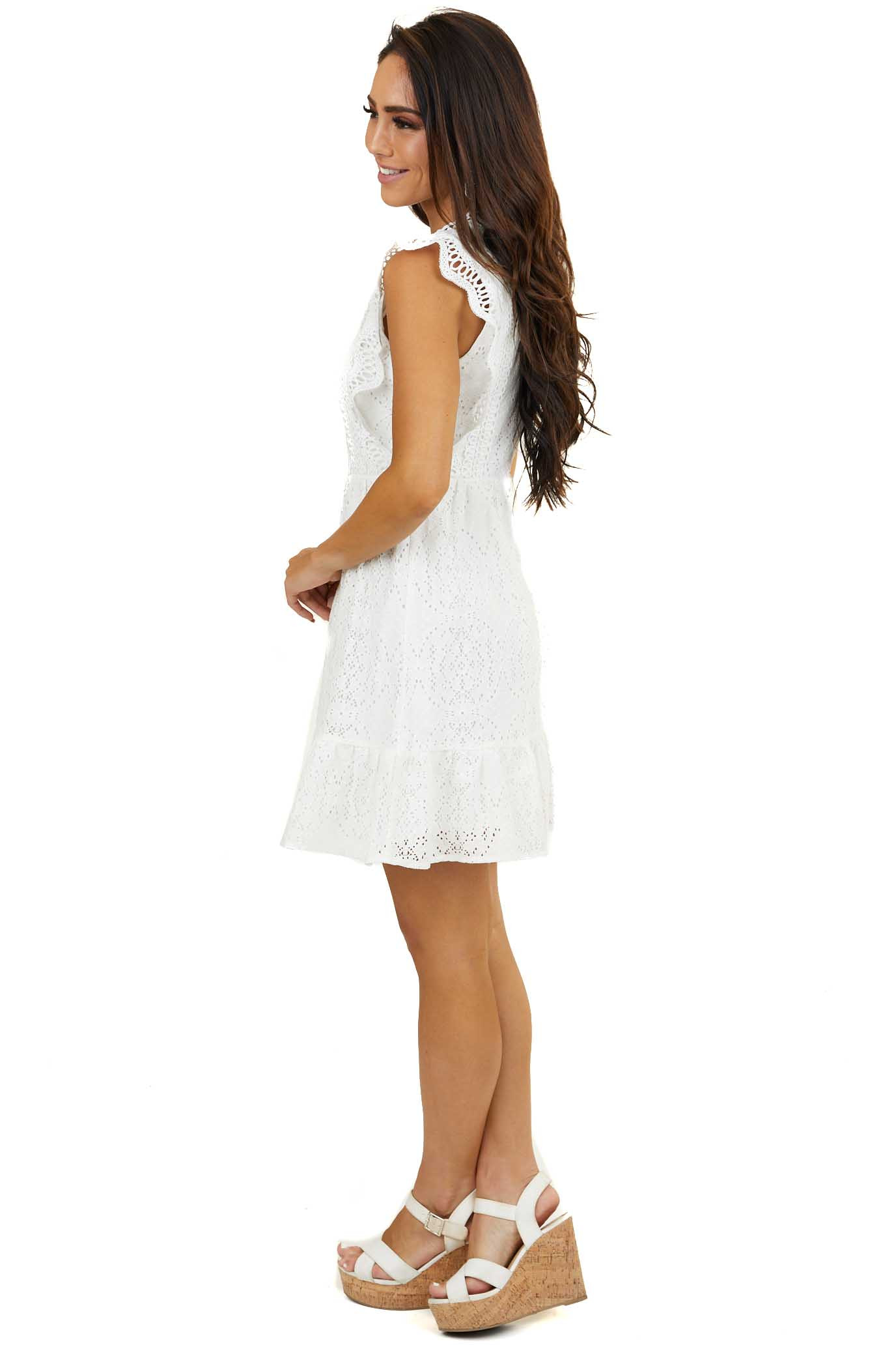 Ivory Eyelet Lace High Neck Dress with Crochet Lace Details