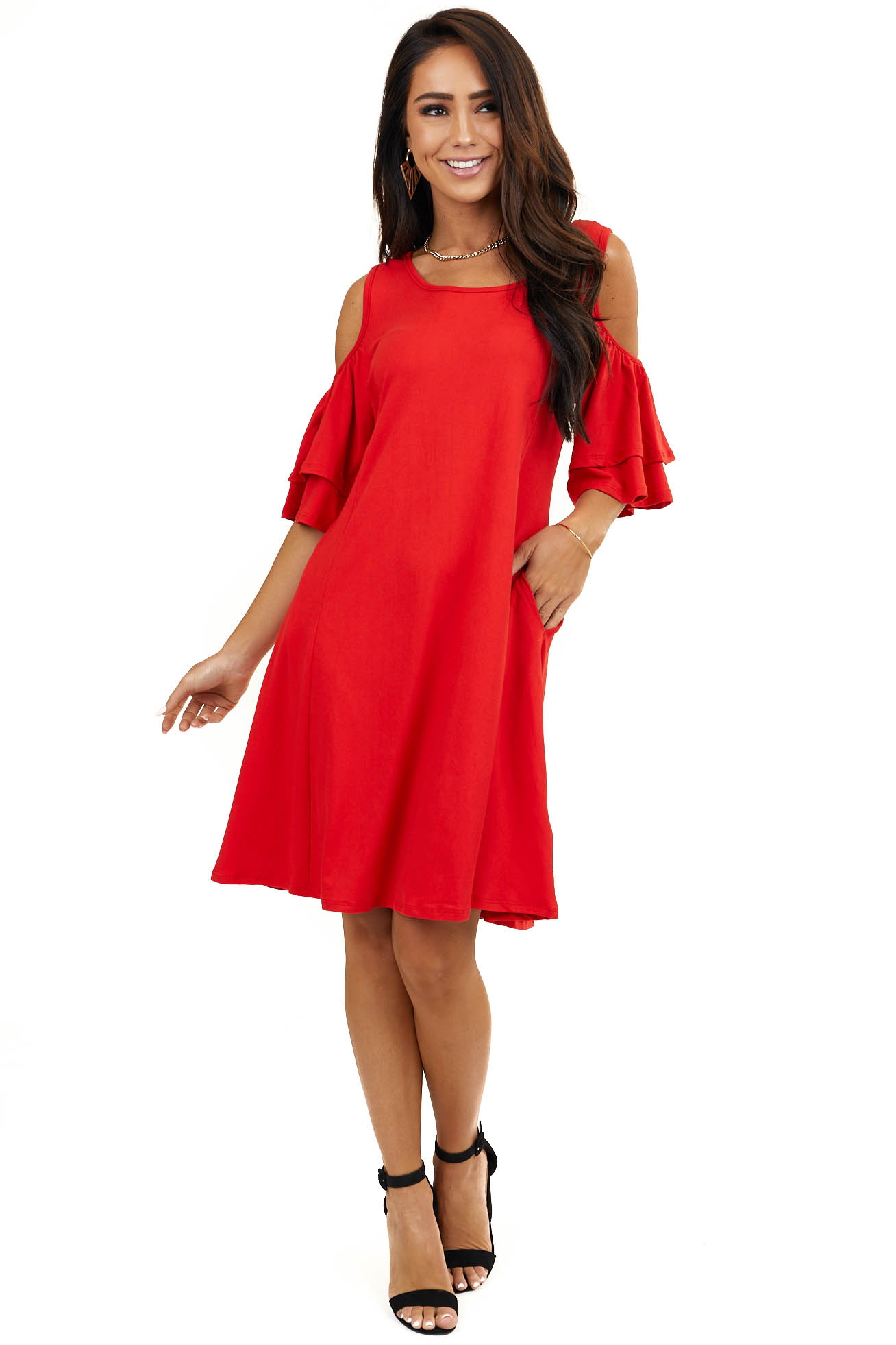 Tomato Red Cold Shoulder Soft Mini Dress with Side Pockets