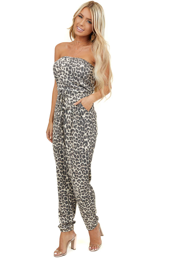 Mocha Leopard Print Strapless Jumpsuit with Pockets and Tie
