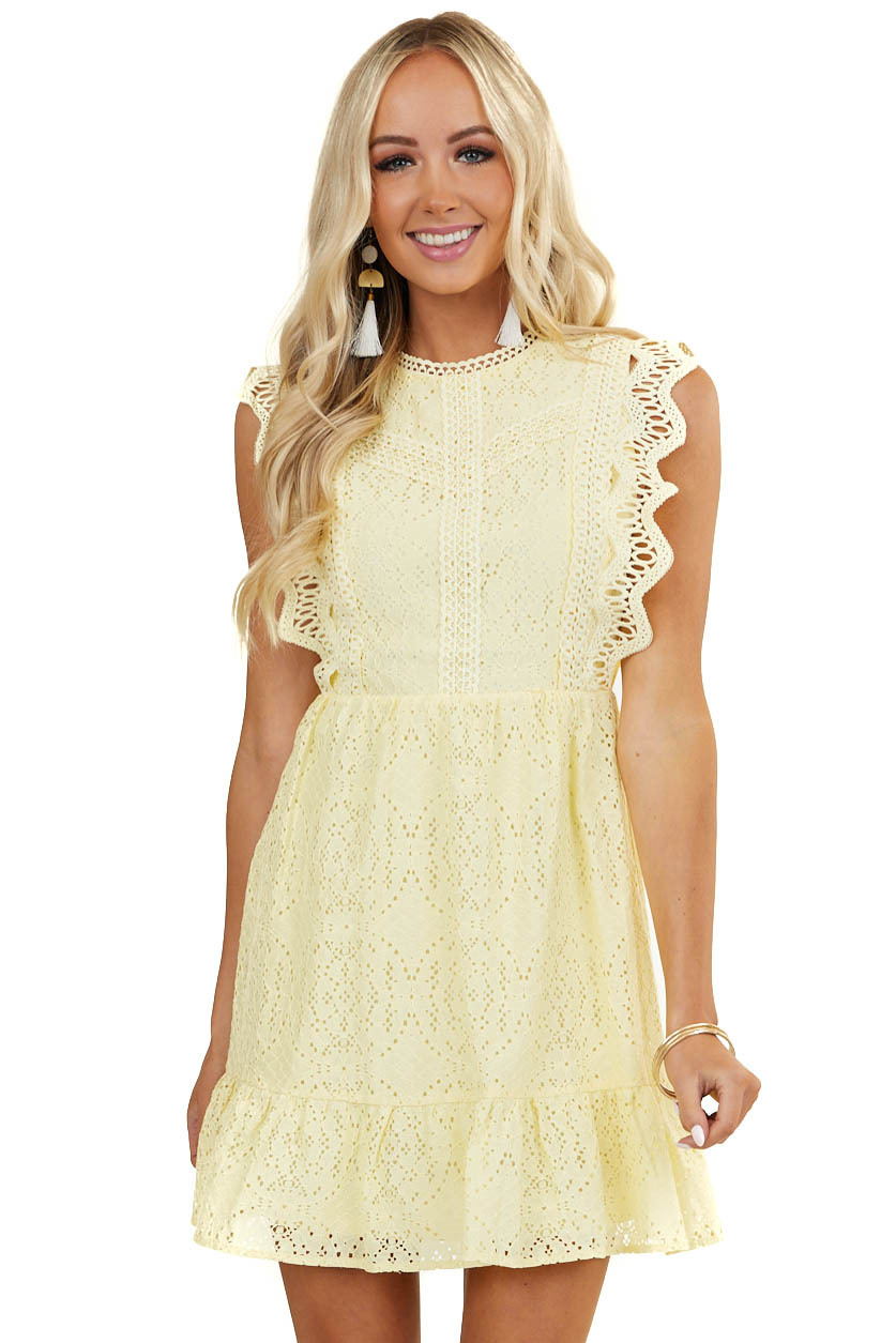 Lemon Eyelet Lace High Neck Dress with Crochet Lace Details