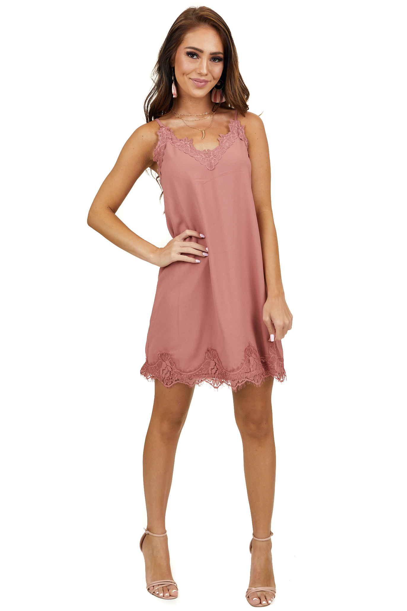 Mauve Sleeveless V Neck Mini Dress with Lace Trim Details