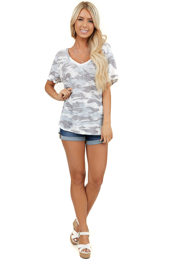 Charcoal and Dusty Blue Short Sleeve V Neck Knit Top