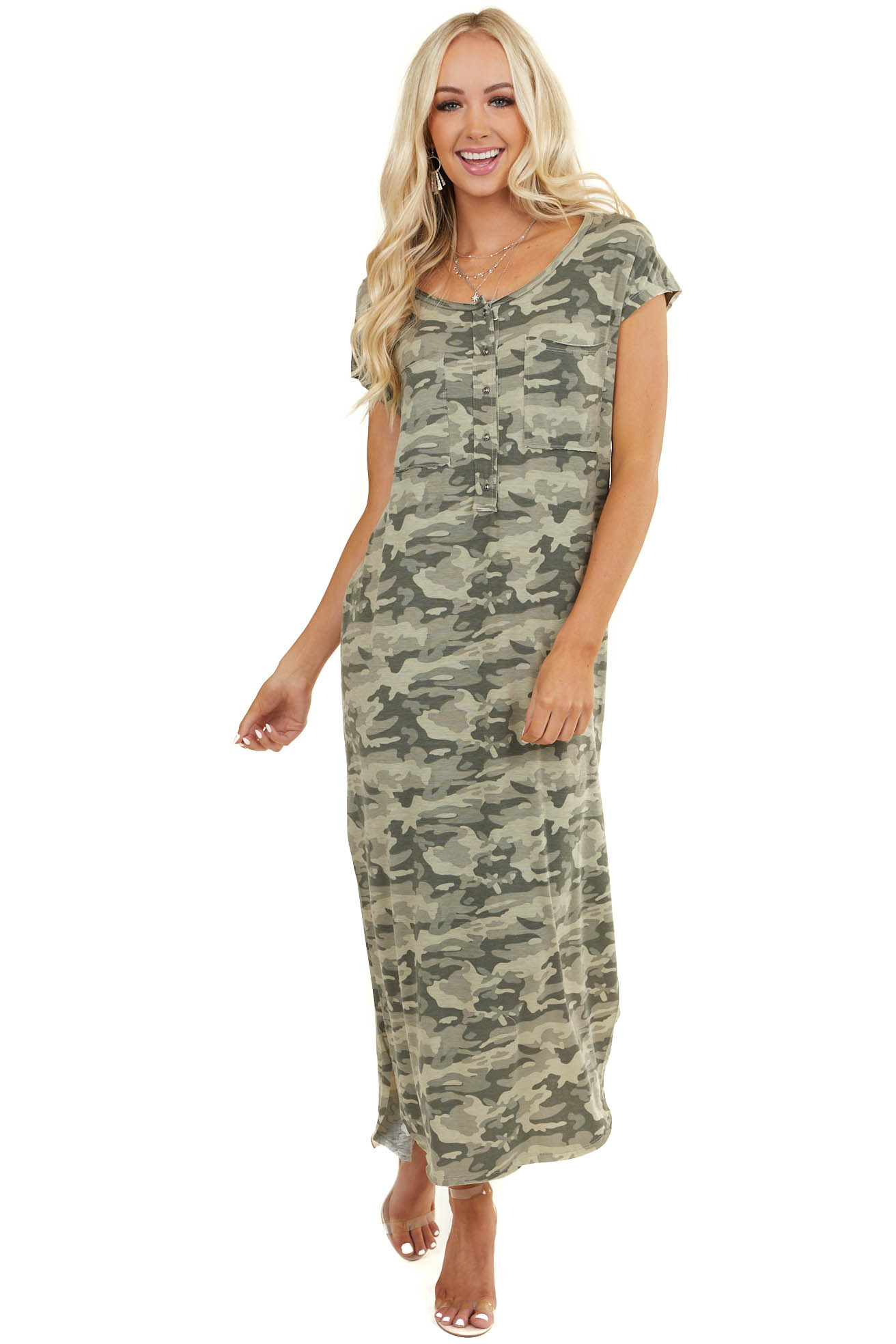 Sage Camo Print Short Cap Sleeve Maxi Dress with Side Slits