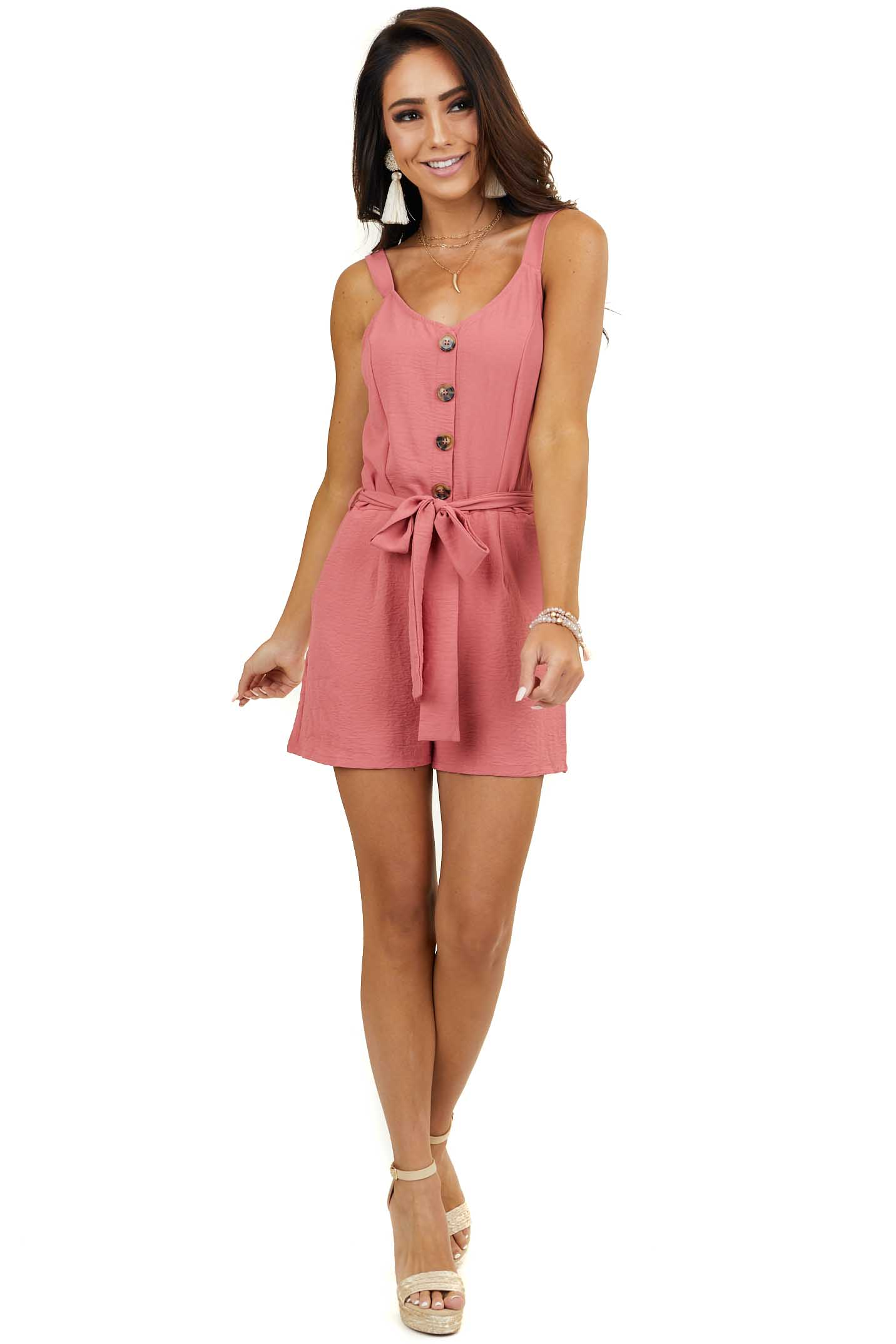 Dark Coral Button Down Romper with Waist Tie and Pockets