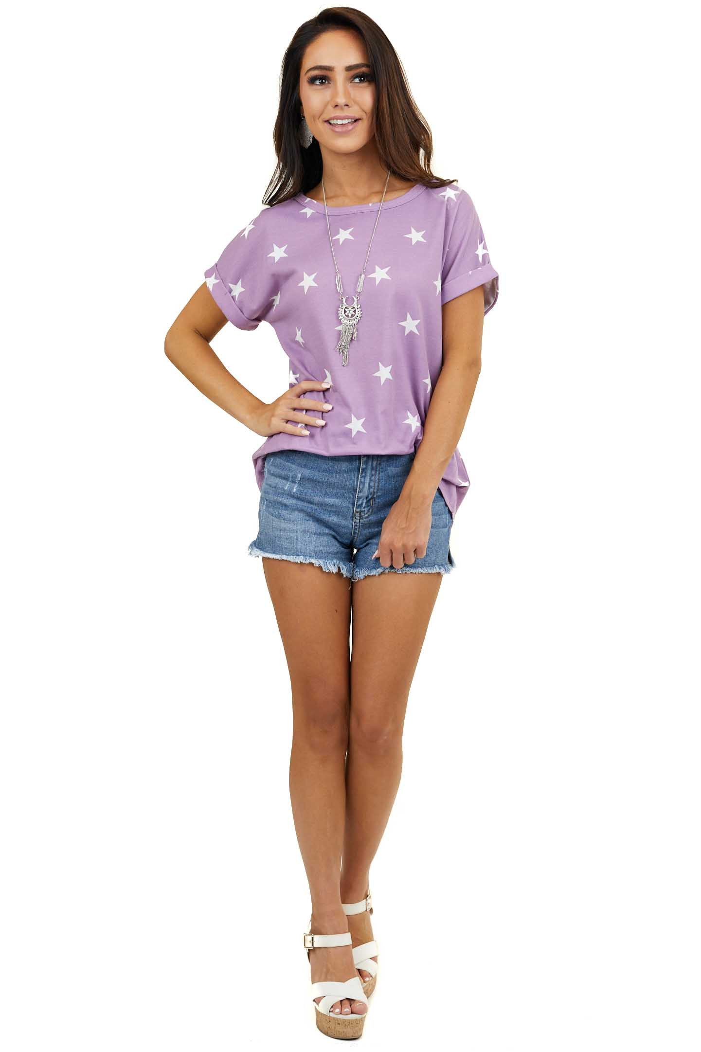 Bright Lilac Star Print Knit Top with Short Cuffed Sleeves