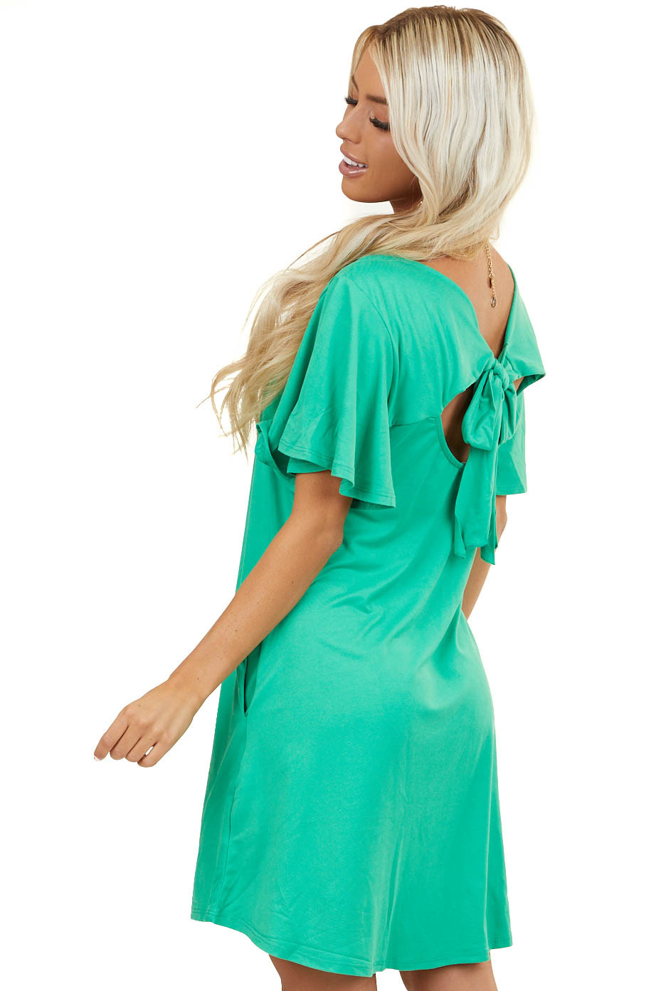 Kelly Green Keyhole Back Dress with Tie Detail and Pockets