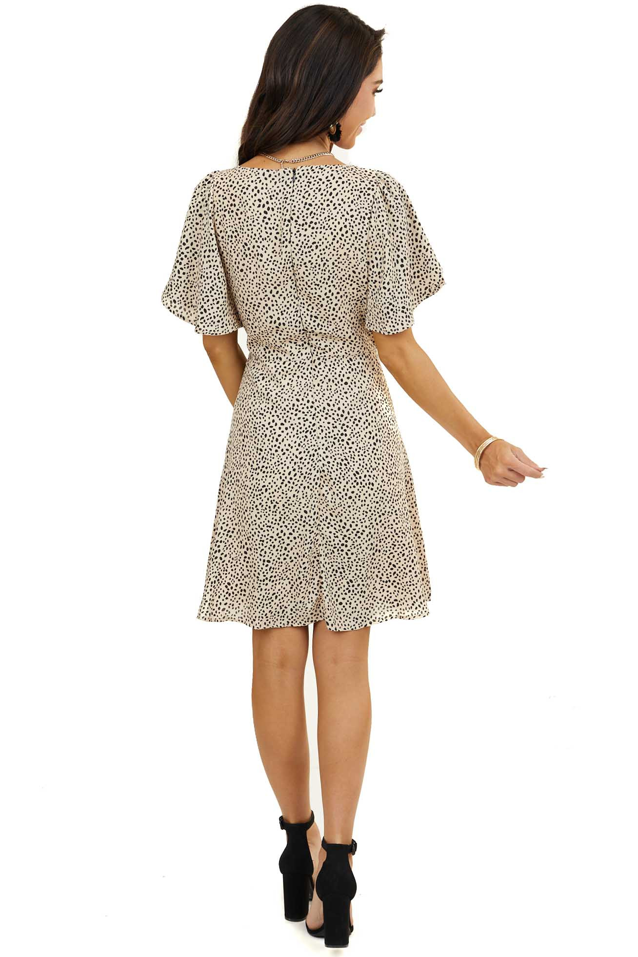 Beige and Black Cheetah Print Dress with Short Sleeves